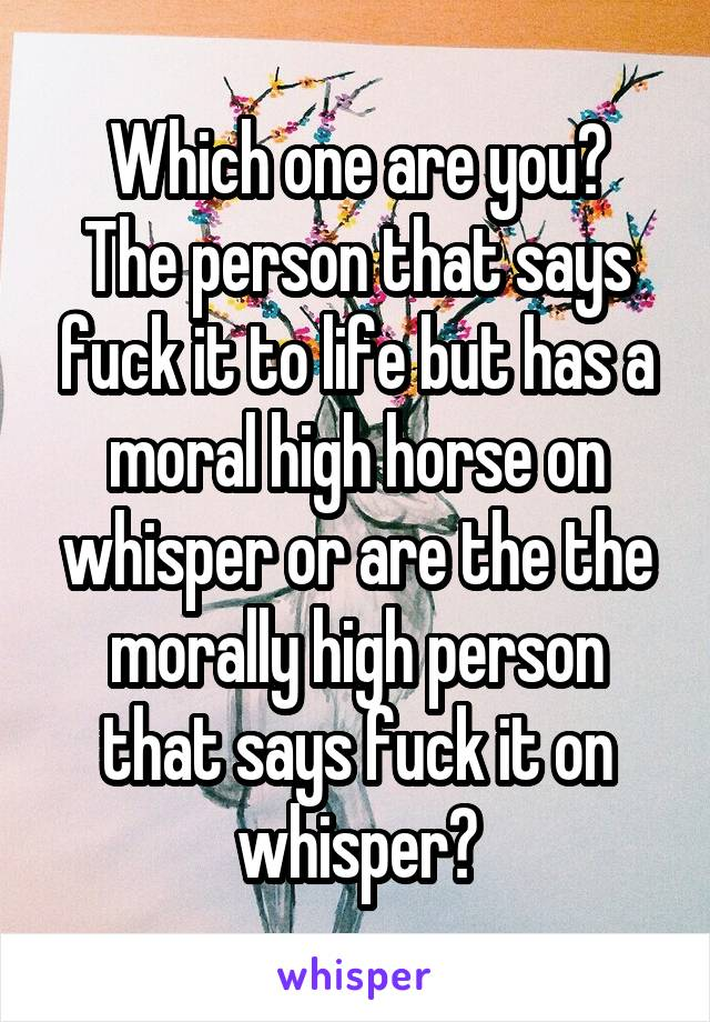 Which one are you? The person that says fuck it to life but has a moral high horse on whisper or are the the morally high person that says fuck it on whisper?