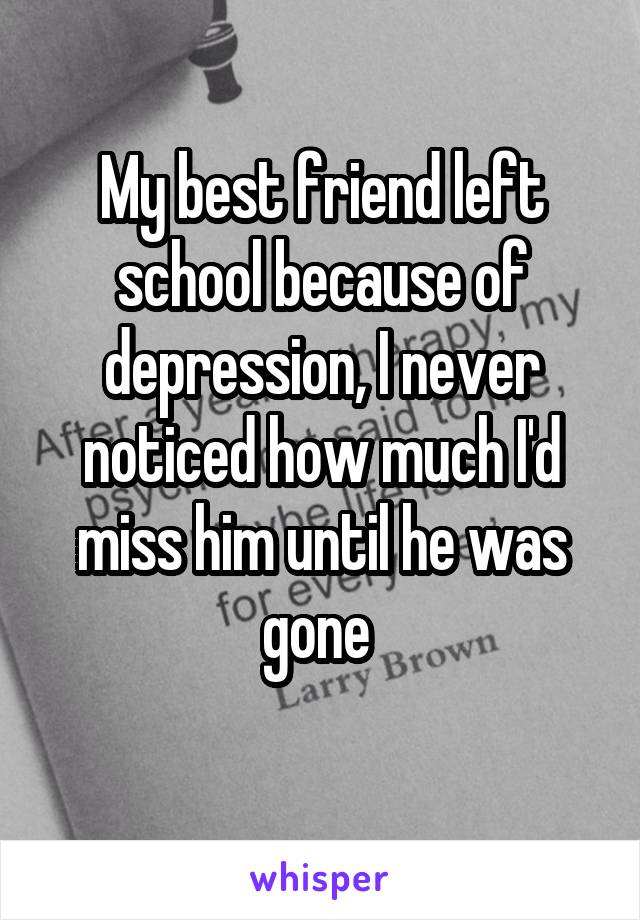 My best friend left school because of depression, I never noticed how much I'd miss him until he was gone