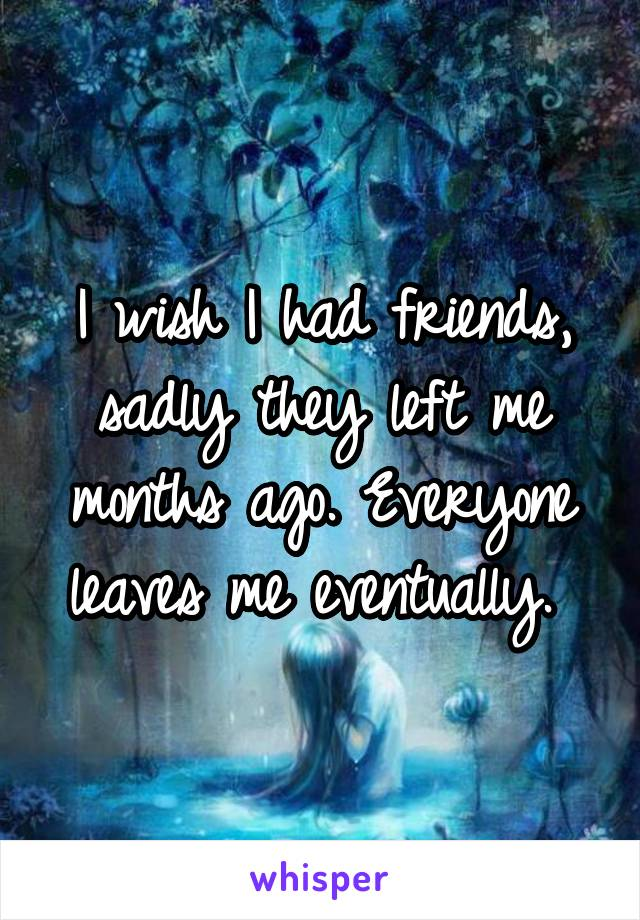 I wish I had friends, sadly they left me months ago. Everyone leaves me eventually.