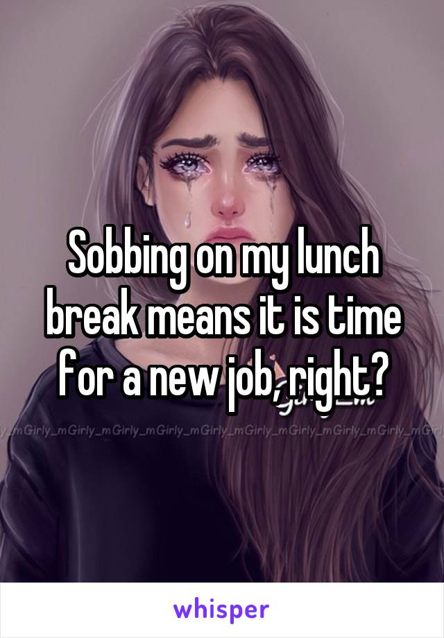 Sobbing on my lunch break means it is time for a new job, right?