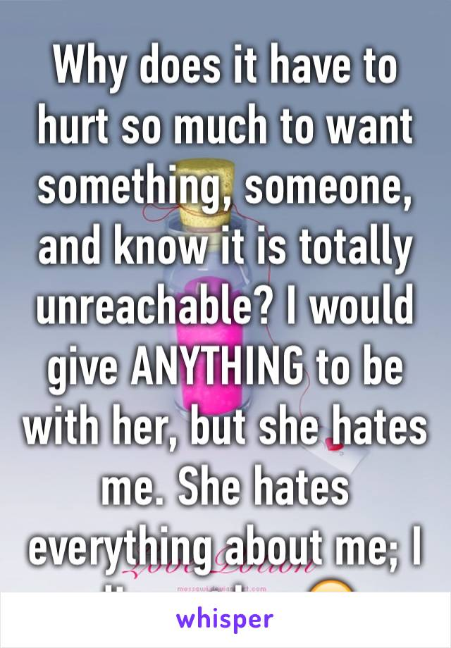 Why does it have to hurt so much to want something, someone, and know it is totally unreachable? I would give ANYTHING to be with her, but she hates me. She hates everything about me; I disgust her 😣