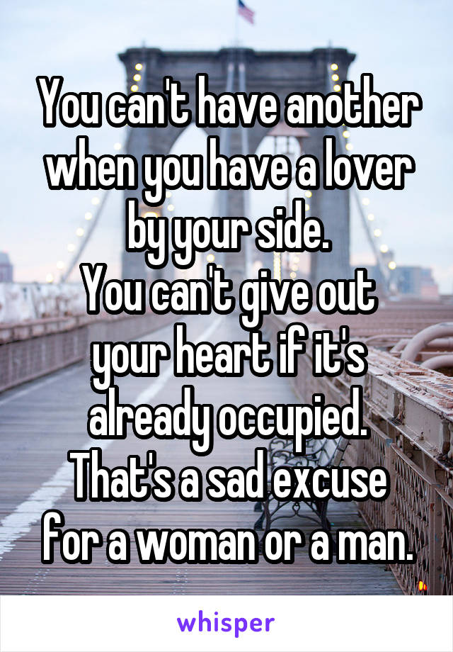 You can't have another when you have a lover by your side. You can't give out your heart if it's already occupied. That's a sad excuse for a woman or a man.
