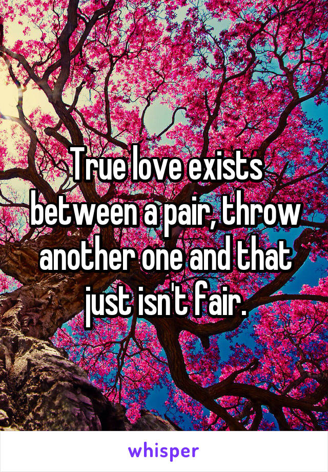 True love exists between a pair, throw another one and that just isn't fair.