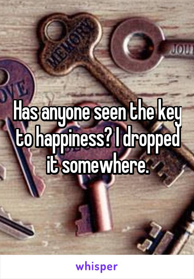 Has anyone seen the key to happiness? I dropped it somewhere.