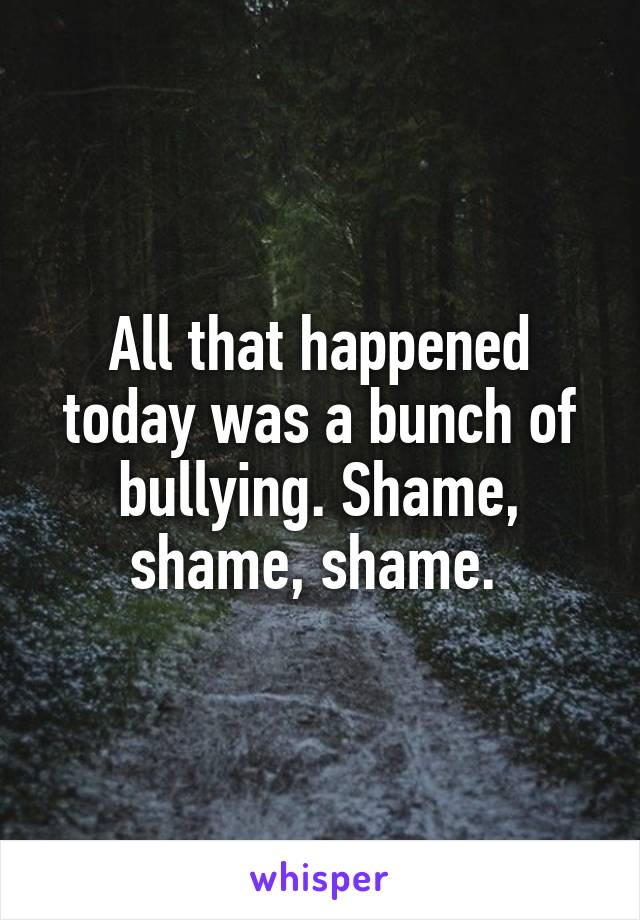 All that happened today was a bunch of bullying. Shame, shame, shame.