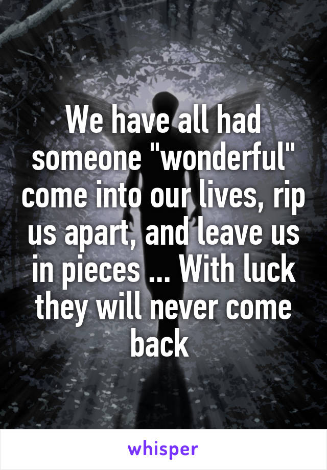 """We have all had someone """"wonderful"""" come into our lives, rip us apart, and leave us in pieces ... With luck they will never come back"""