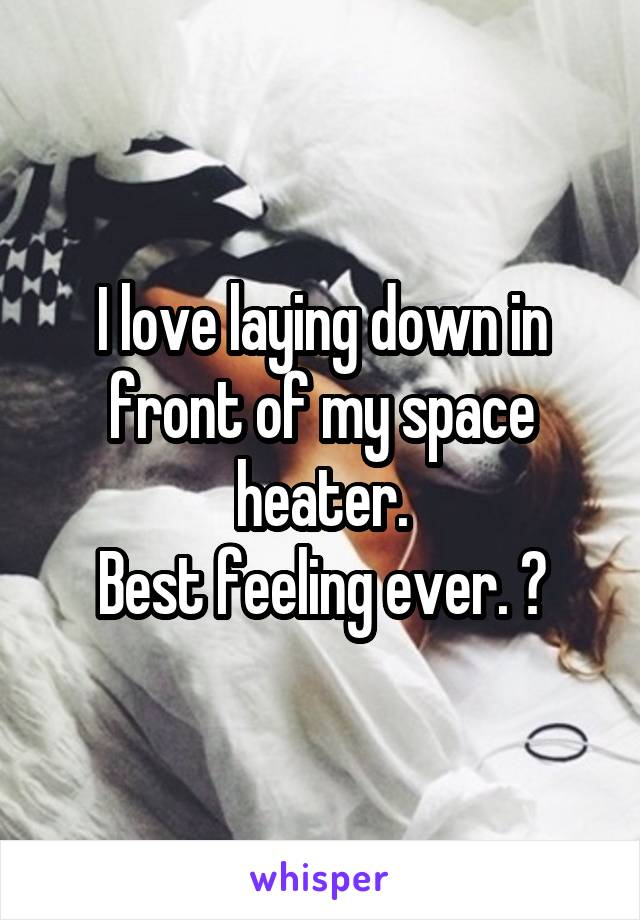 I love laying down in front of my space heater. Best feeling ever. ♡