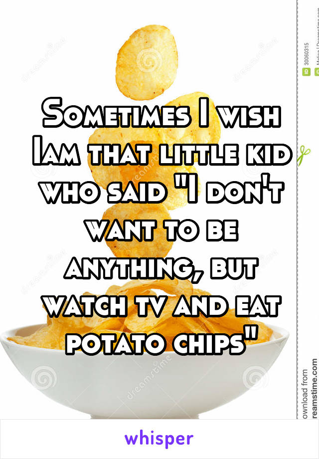"""Sometimes I wish Iam that little kid who said """"I don't want to be anything, but watch tv and eat potato chips"""""""