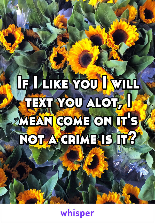 If I like you I will text you alot, I mean come on it's not a crime is it?
