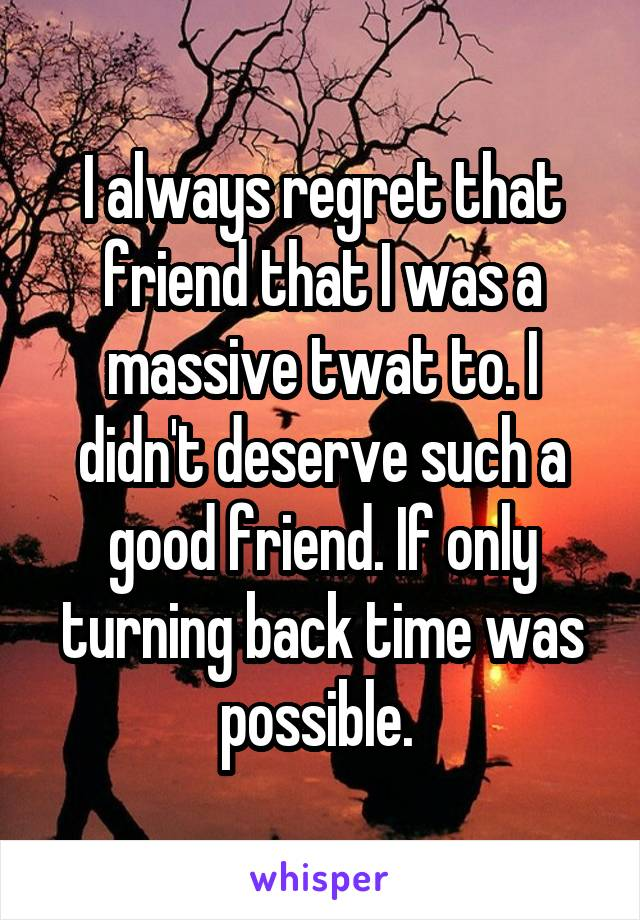 I always regret that friend that I was a massive twat to. I didn't deserve such a good friend. If only turning back time was possible.