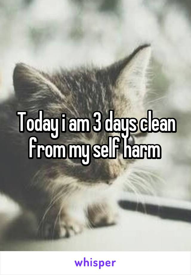 Today i am 3 days clean from my self harm