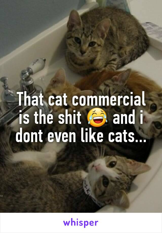 That cat commercial is the shit 😂 and i dont even like cats...