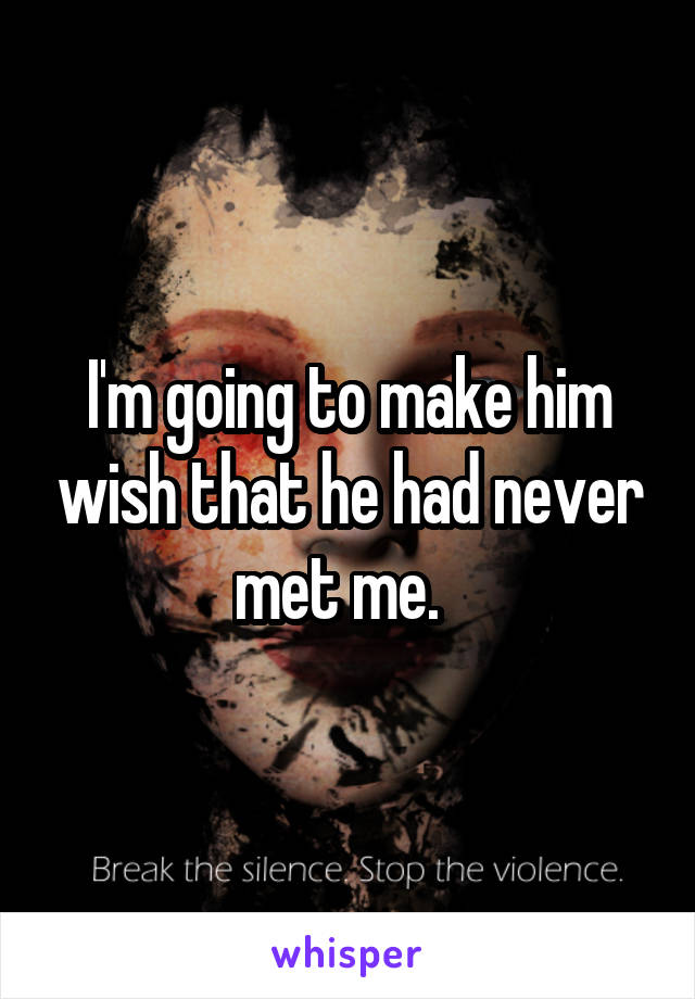 I'm going to make him wish that he had never met me.