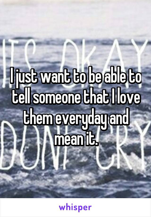 I just want to be able to tell someone that I love them everyday and mean it.