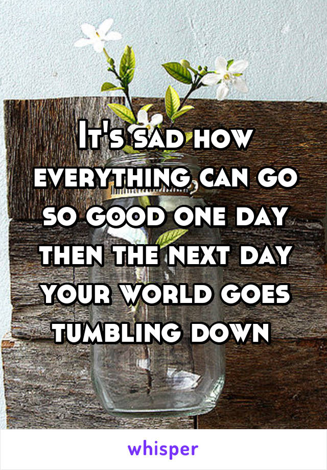 It's sad how everything can go so good one day then the next day your world goes tumbling down