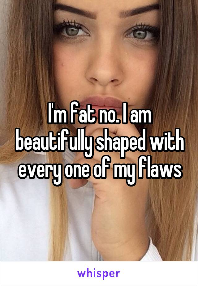 I'm fat no. I am beautifully shaped with every one of my flaws