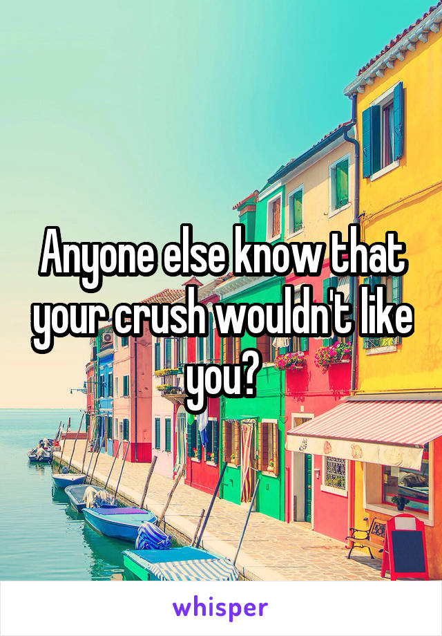 Anyone else know that your crush wouldn't like you?