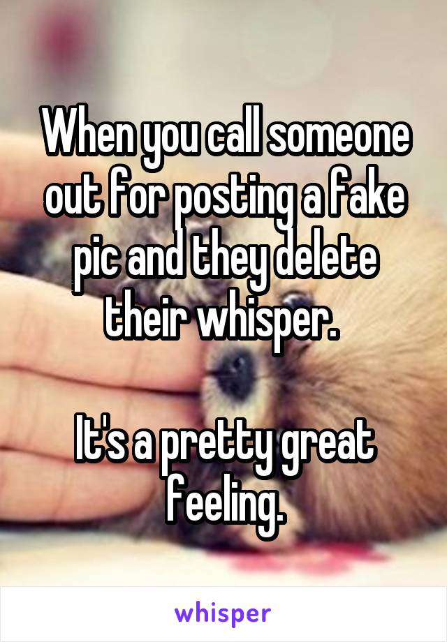 When you call someone out for posting a fake pic and they delete their whisper.   It's a pretty great feeling.