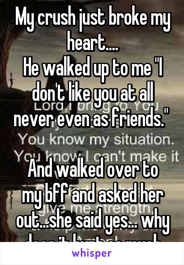 """My crush just broke my heart.... He walked up to me """"I don't like you at all never even as friends.""""   And walked over to my bff and asked her out...she said yes... why does it hurt so much"""