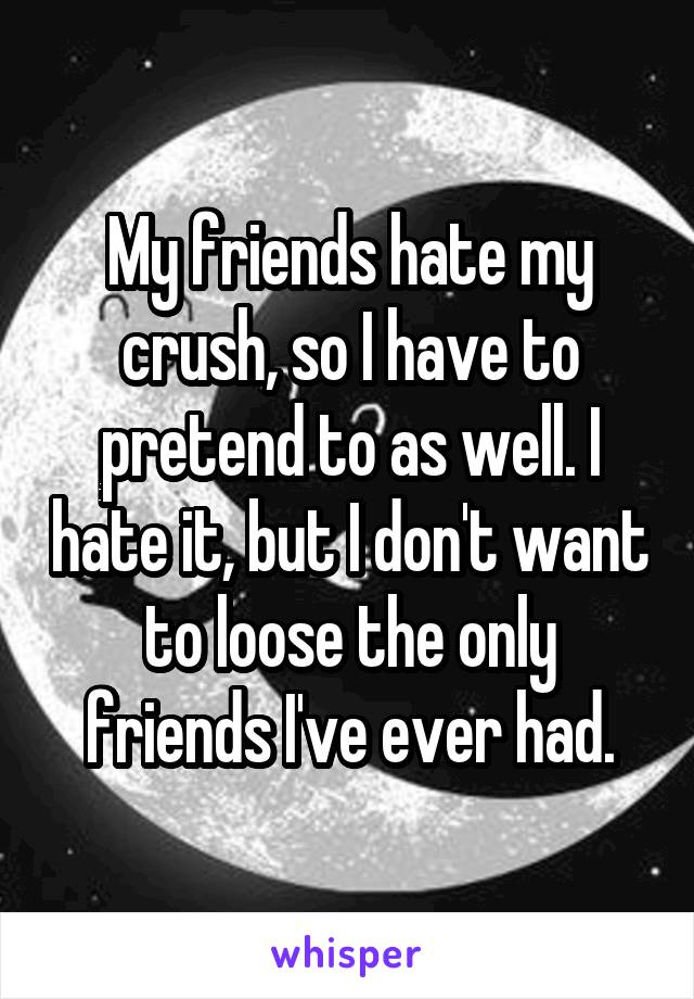My friends hate my crush, so I have to pretend to as well. I hate it, but I don't want to loose the only friends I've ever had.