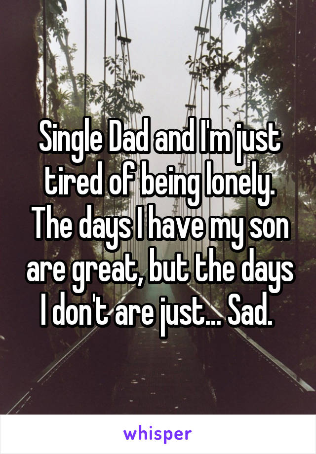 Single Dad and I'm just tired of being lonely. The days I have my son are great, but the days I don't are just... Sad.