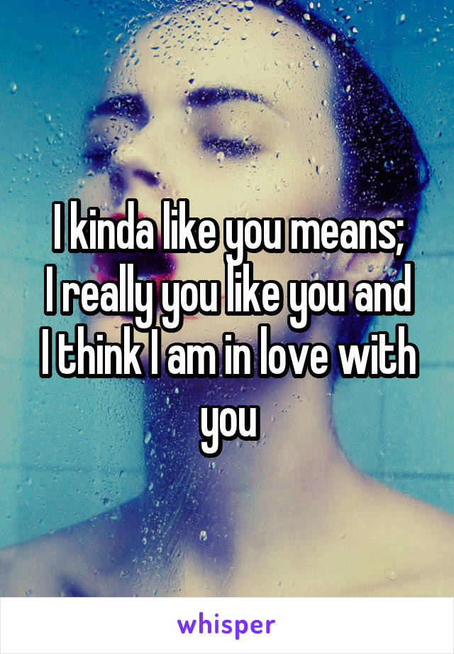 I kinda like you means; I really you like you and I think I am in love with you