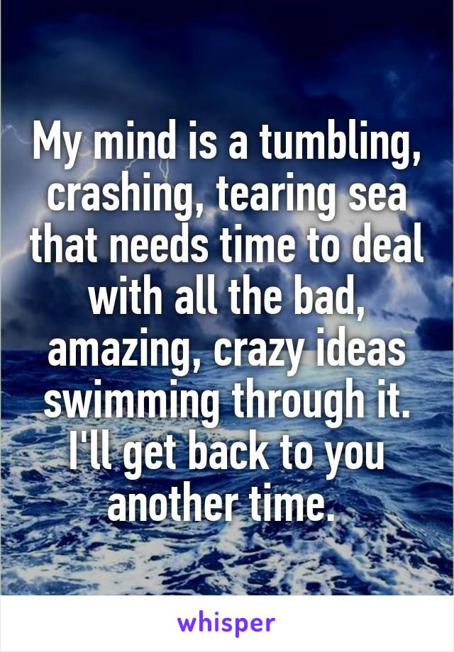 My mind is a tumbling, crashing, tearing sea that needs time to deal with all the bad, amazing, crazy ideas swimming through it. I'll get back to you another time.