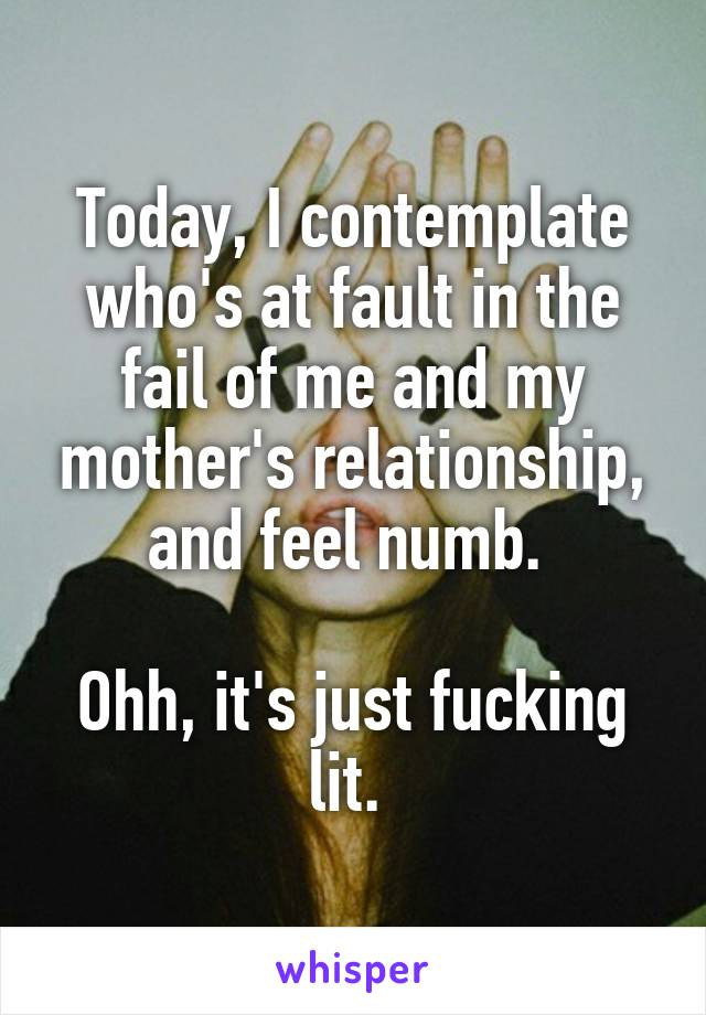 Today, I contemplate who's at fault in the fail of me and my mother's relationship, and feel numb.   Ohh, it's just fucking lit.