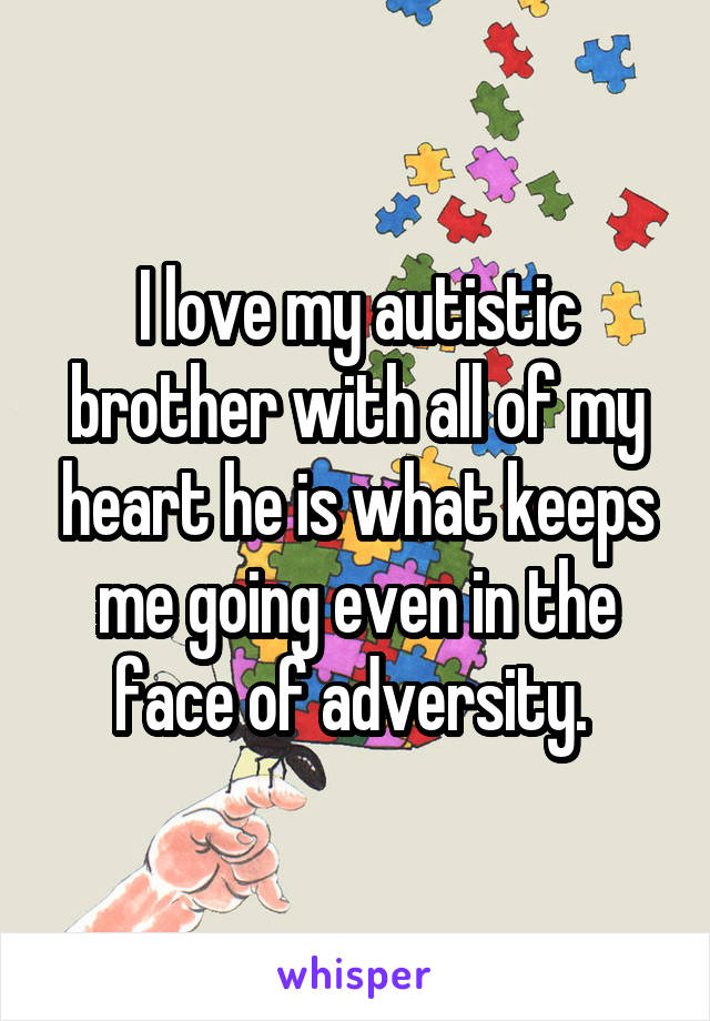 I love my autistic brother with all of my heart he is what keeps me going even in the face of adversity.