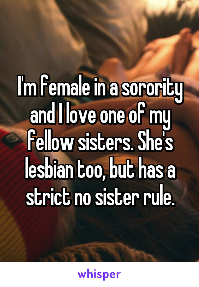I'm female in a sorority and I love one of my fellow sisters. She's lesbian too, but has a strict no sister rule.