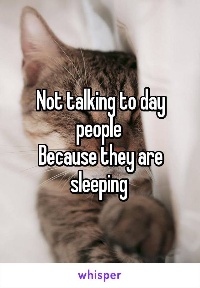 Not talking to day people  Because they are sleeping