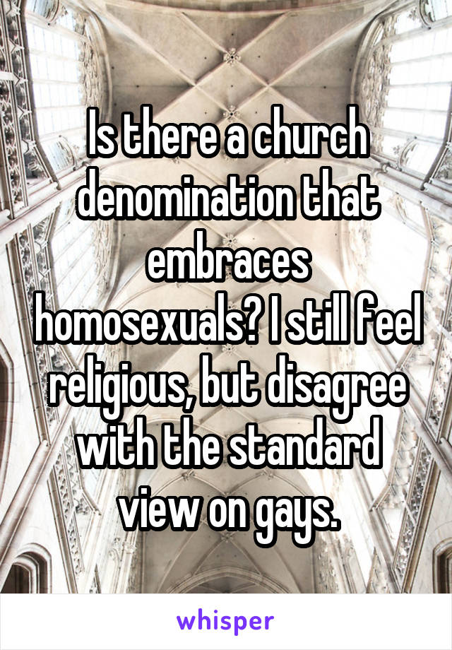 Is there a church denomination that embraces homosexuals? I still feel religious, but disagree with the standard view on gays.