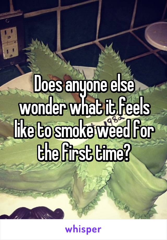 Does anyone else wonder what it feels like to smoke weed for the first time?