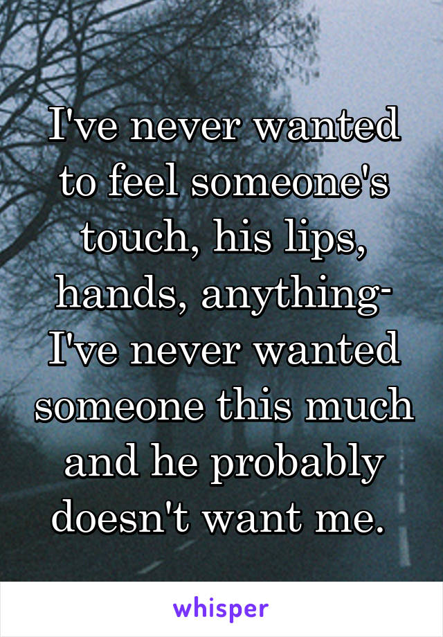 I've never wanted to feel someone's touch, his lips, hands, anything- I've never wanted someone this much and he probably doesn't want me.