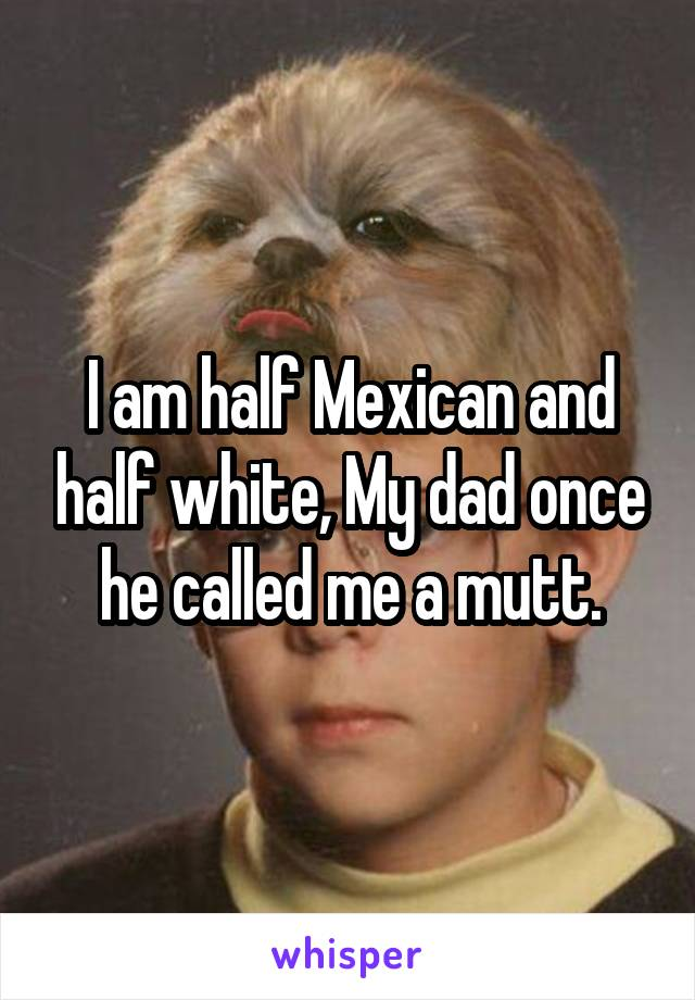 I am half Mexican and half white, My dad once he called me a mutt.