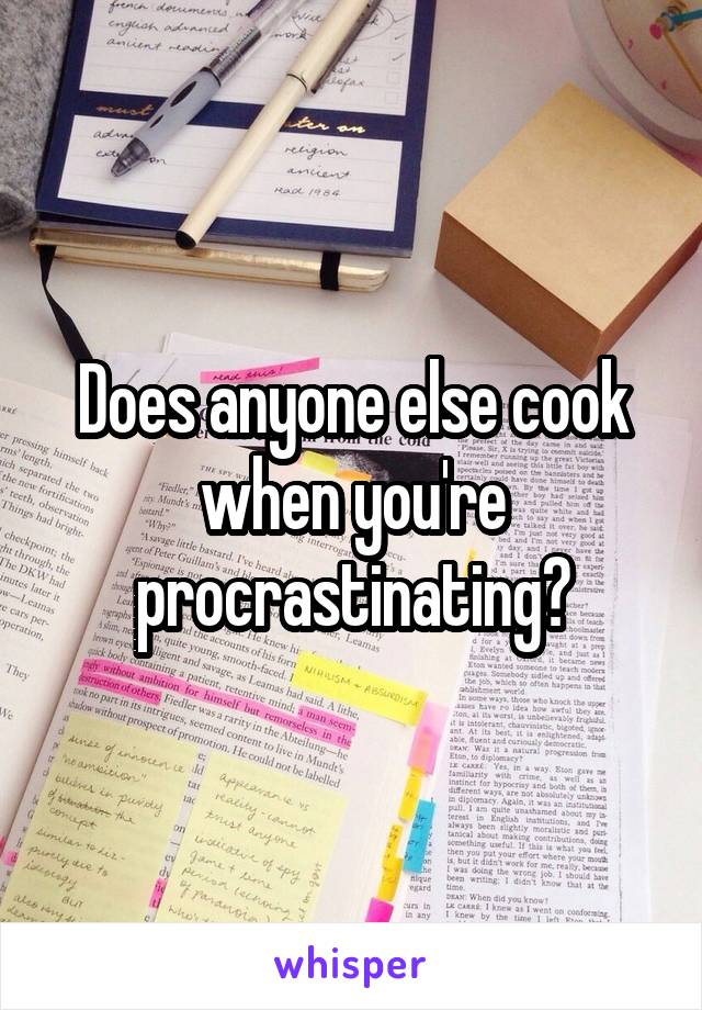 Does anyone else cook when you're procrastinating?