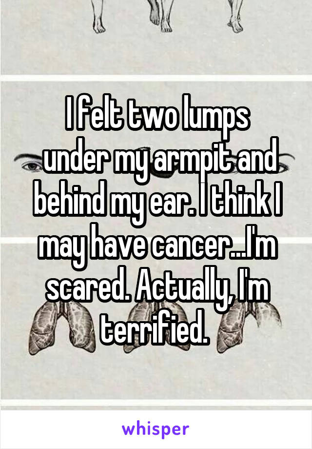 I felt two lumps  under my armpit and behind my ear. I think I may have cancer...I'm scared. Actually, I'm terrified.