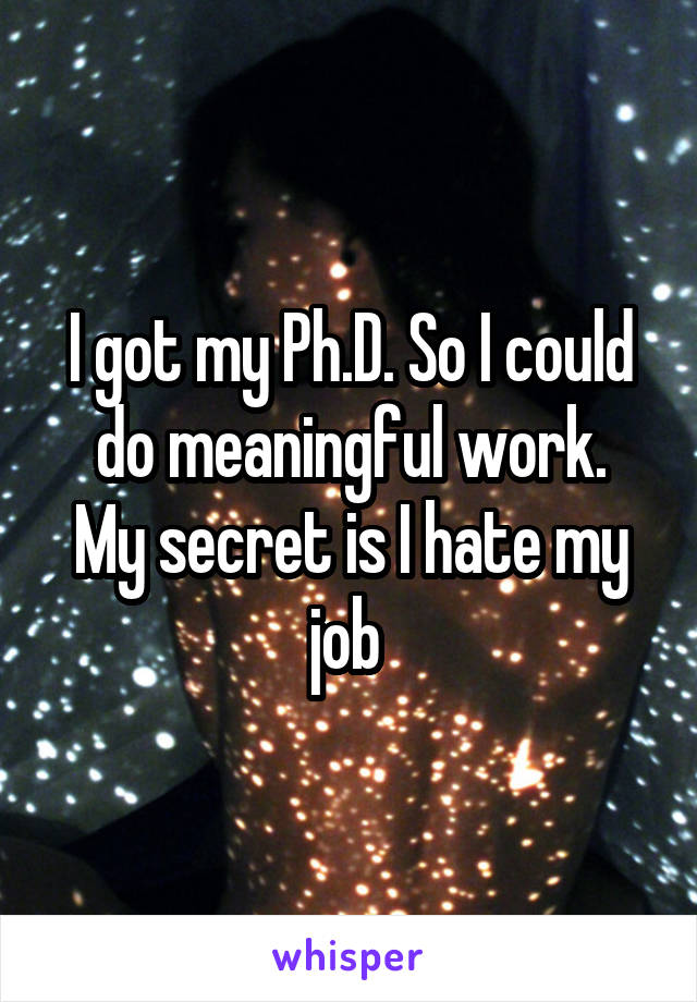 I got my Ph.D. So I could do meaningful work. My secret is I hate my job