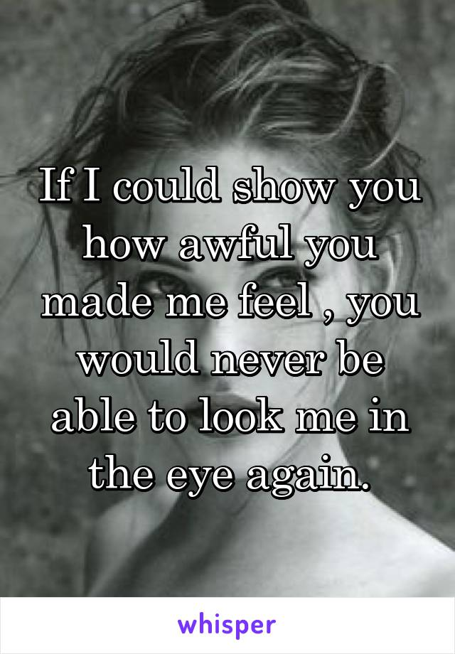 If I could show you how awful you made me feel , you would never be able to look me in the eye again.