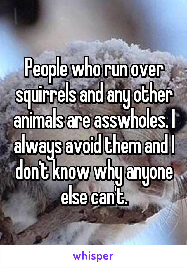 People who run over squirrels and any other animals are asswholes. I always avoid them and I don't know why anyone else can't.