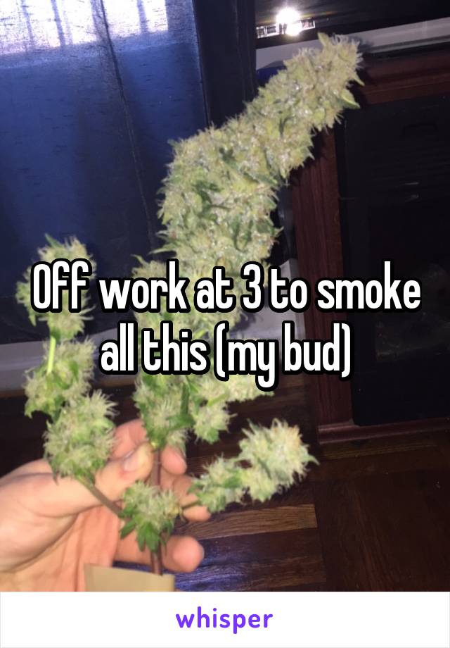 Off work at 3 to smoke all this (my bud)