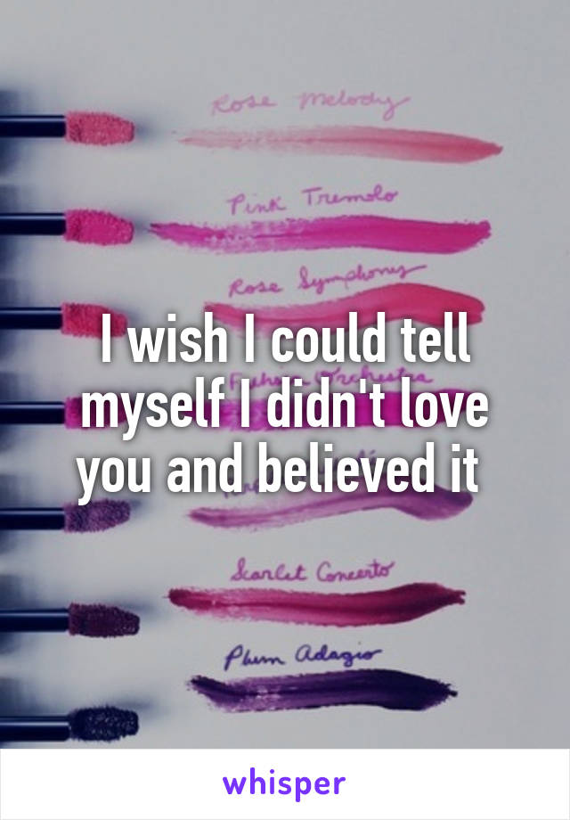 I wish I could tell myself I didn't love you and believed it