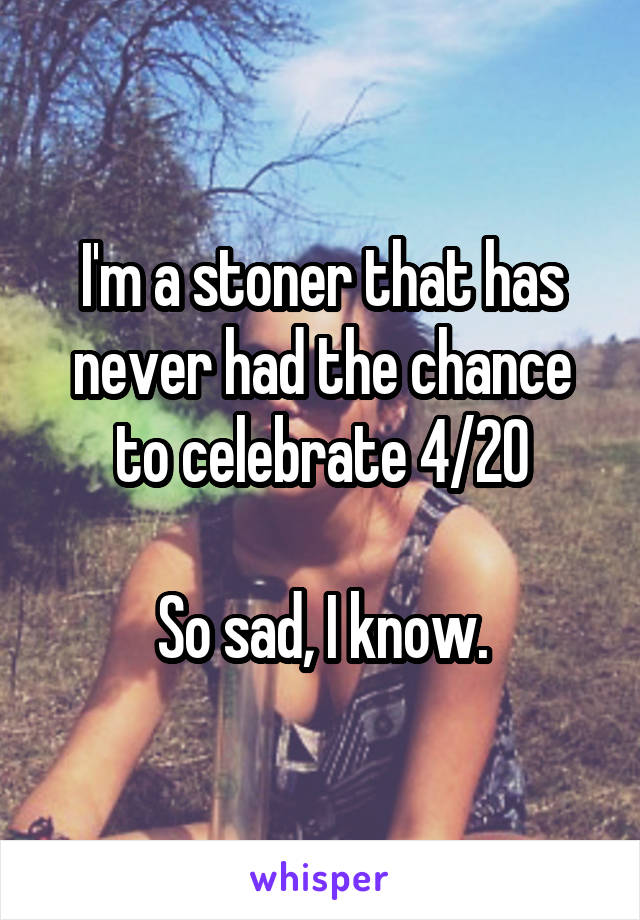 I'm a stoner that has never had the chance to celebrate 4/20  So sad, I know.