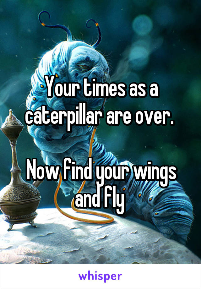 Your times as a caterpillar are over.   Now find your wings and fly
