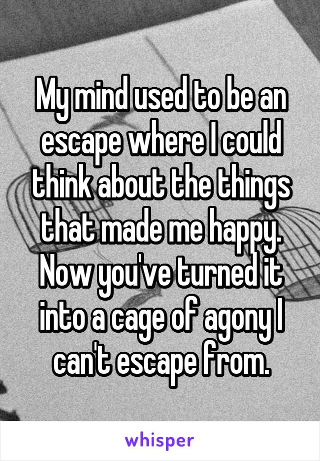 My mind used to be an escape where I could think about the things that made me happy. Now you've turned it into a cage of agony I can't escape from.