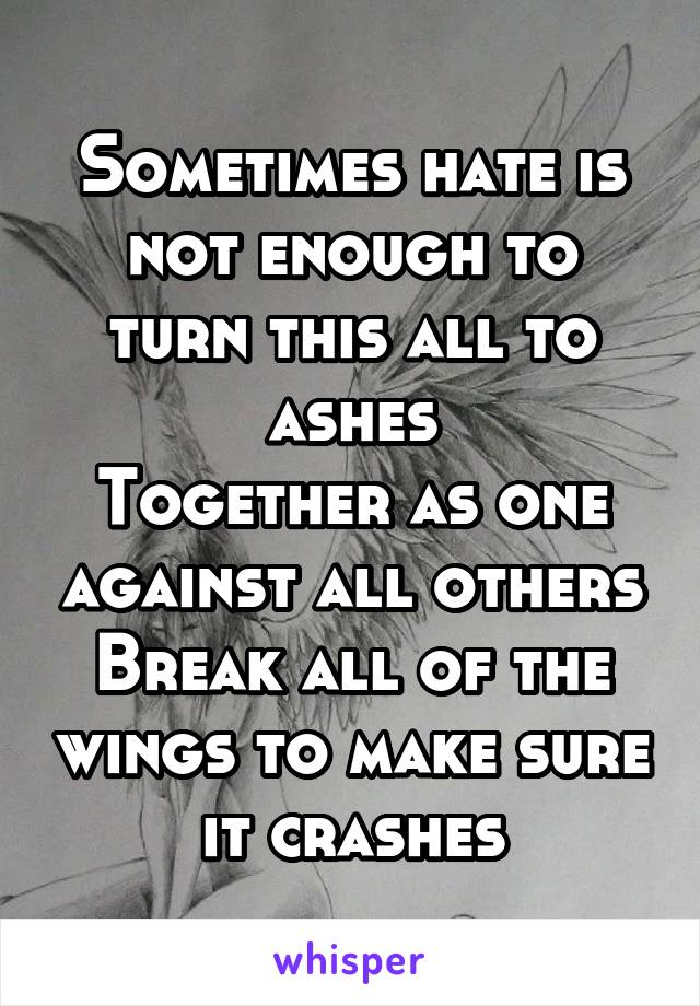 Sometimes hate is not enough to turn this all to ashes Together as one against all others Break all of the wings to make sure it crashes