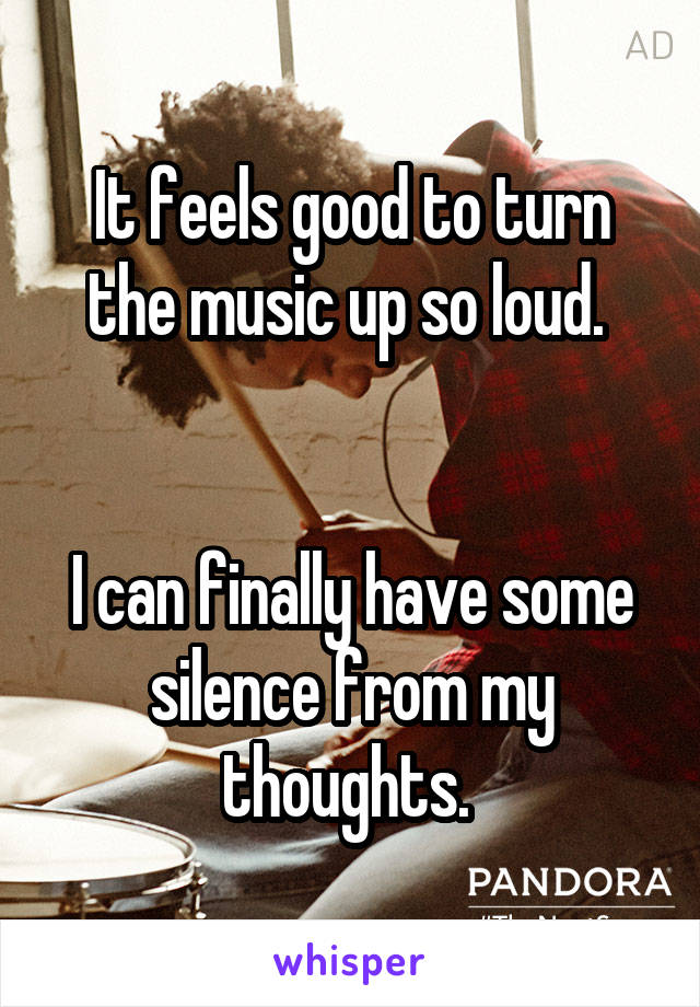 It feels good to turn the music up so loud.    I can finally have some silence from my thoughts.