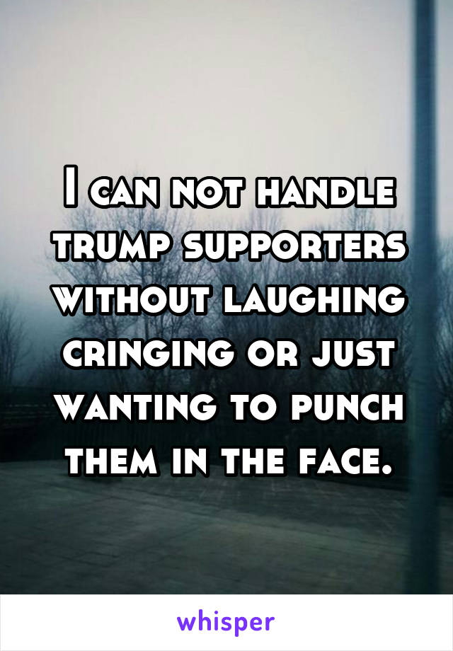 I can not handle trump supporters without laughing cringing or just wanting to punch them in the face.