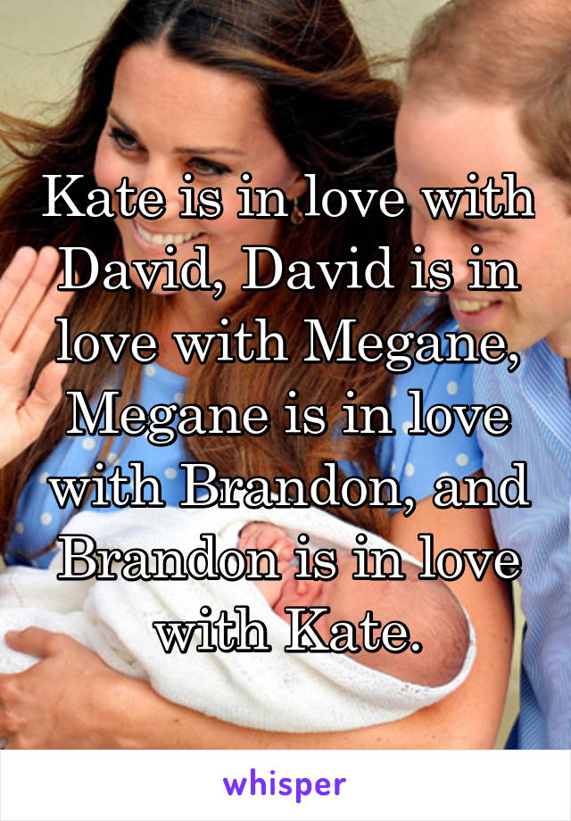 Kate is in love with David, David is in love with Megane, Megane is in love with Brandon, and Brandon is in love with Kate.