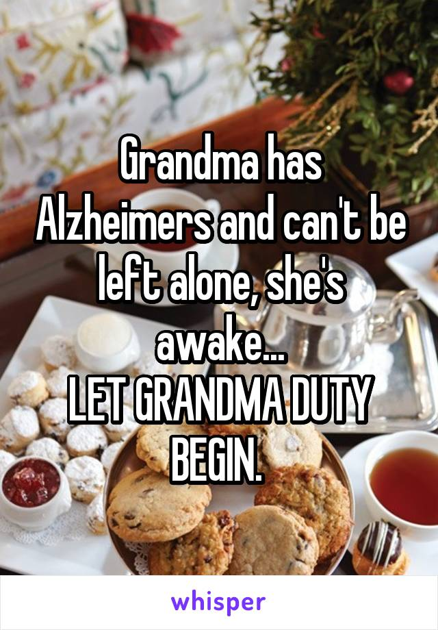 Grandma has Alzheimers and can't be left alone, she's awake... LET GRANDMA DUTY BEGIN.